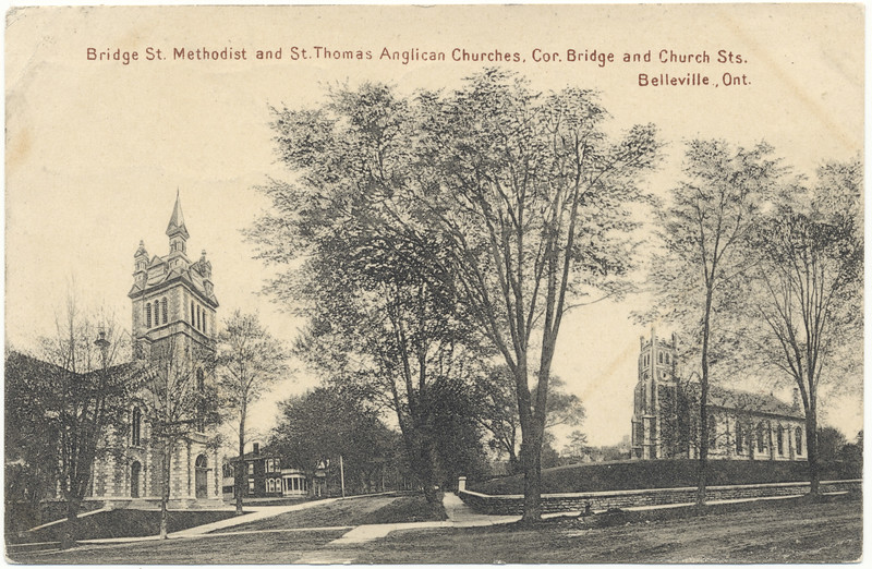 Postcard: Belleville, Ontario. Bridge St. Methodist and St. Thomas Anglican Churches, corner Bridge and Church Streets. Mailed 1909 October 14th.