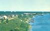 Moosonee, shoreline aerial view showing radar domes.. Descreened.