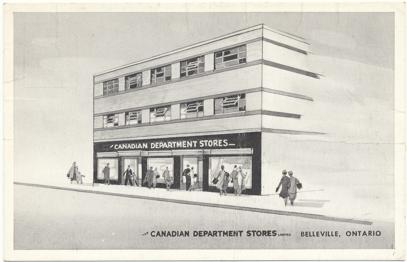 Postcard: Belleville, Ontario. The Canadian Department Stores. Operated by Eaton's, later became an Eaton's Store.  Unused, undated but likely mid 1940s to early 1950s.  Text on back of card: Belleville C.D.S. --the shopping spot for this Bay of Quinte city, and adjacent countryside, services the needs of about 17,977 permanent residents and a large transient population of tourists and travellers.