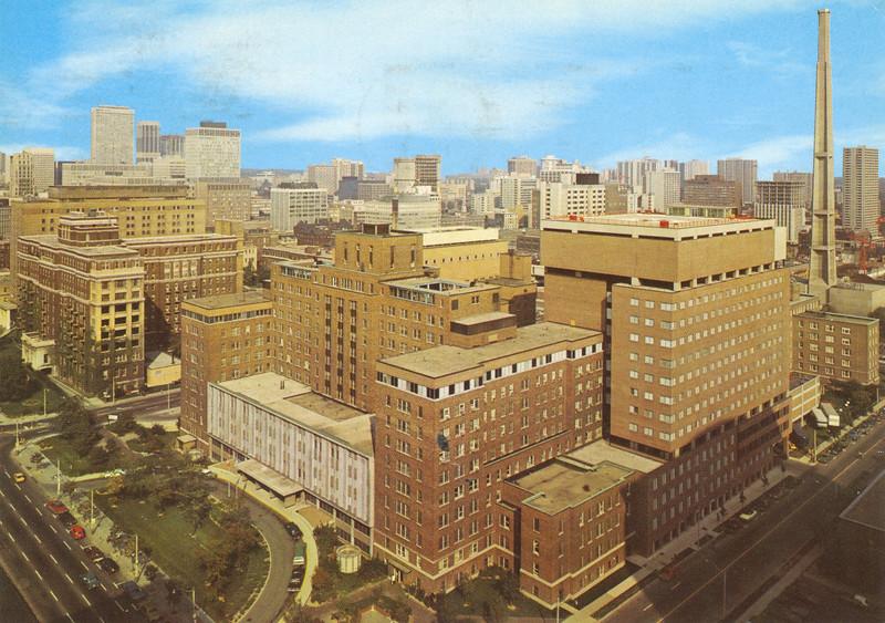 Postcard mailed 1976 December Hospital for Sick Children in Toronto taken from south west corner over University Avenue. Back of card: largest children's hospital in North America 750 beds. 1600 dpi scan