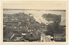 Postcard: Belleville, Ontario. Looking towards harbour, Front Street, Queen Victoria Park, old arena, harbour. Unmailed.