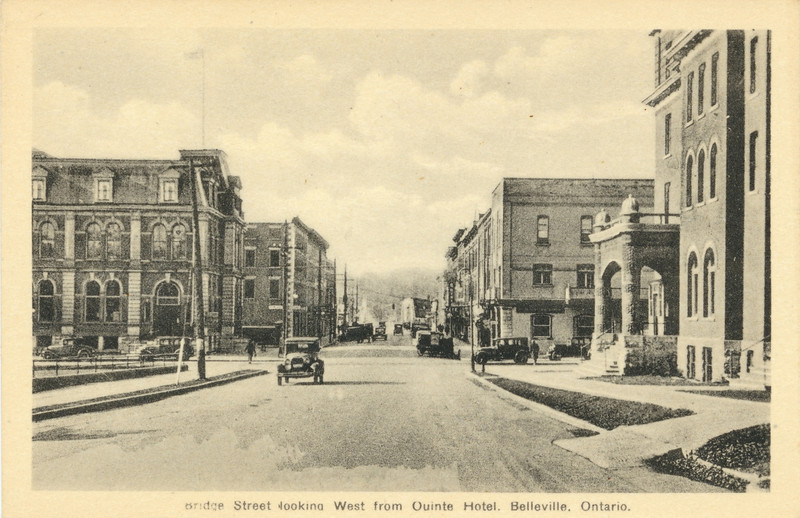 Postcard. Belleville, Ontario. Bridge Street looking West from Quinte Hotel. Shows post office at left and view towards bridge.