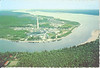 Postcard Aerial picture of Moose Factory showing buildings on Sawpit Island, looking down river, Ed Duke of Kirkland Lake photo