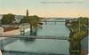 Postcard: Bridges over Moira River, Belleville, Ontario, Canada. Shows suspension footbridge in foreground, Bridge Street bridge in middle (pre concrete arch bridge).