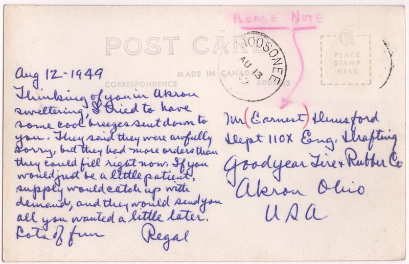 Postcard: Moosonee aerial photo mailed 1949 August 13 to Akron Ohio. Back.