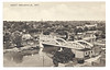 "Postcard: Belleville, Ontario. ""West - Belleville"" Elevated view to northwest across the Moira near Bridge Street showing bridge, Bell Shirt, Christ Church."