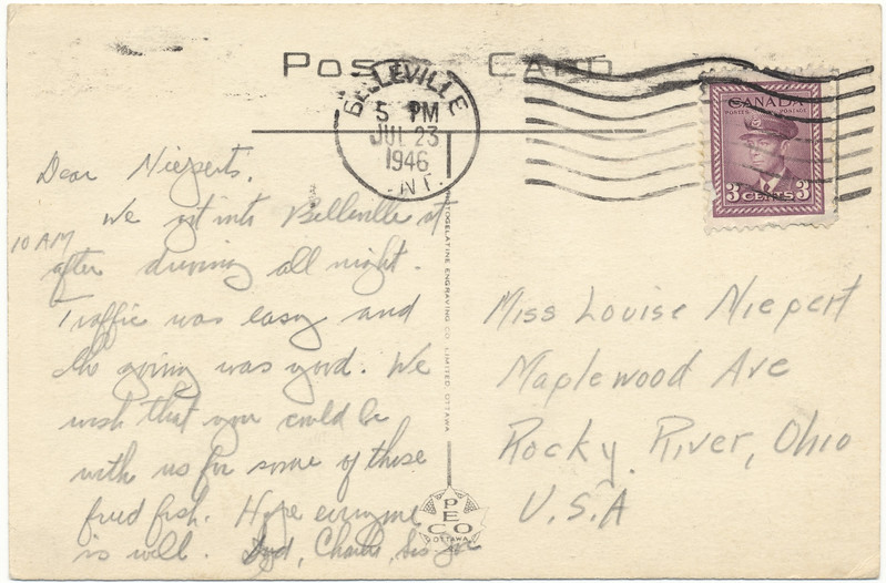 Postcared: Belleville, Ontario. Front Street. Looking south towards City Hall. Mailed to Rocky River, Ohio 1946 July 23rd. Ashley Furs, Belmont Restaurant. Back of card.