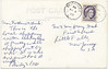 Postcard: Moosonee. Hudson Bay Company Store. Mailed September 6, 1963 to Little Falls, New Jersey. Back