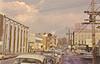 Postcard: Belleville, Ontario. Corner of Bridge Street East and Front Street looking east. Tip Top Tailors sign visible. Len Leiffer.