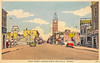 Postcard image Belleville likely 1940s colouring applied by hand?view towards City Hall. Duffys service station, Art Boooks, Chrysler Plymouth Dealer, tire repairs,