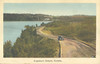Postcard Englehart Ontario showing single car on winding road above body of water, mailed June 9, 1946 from Englehart, King George V 3 cent stamp