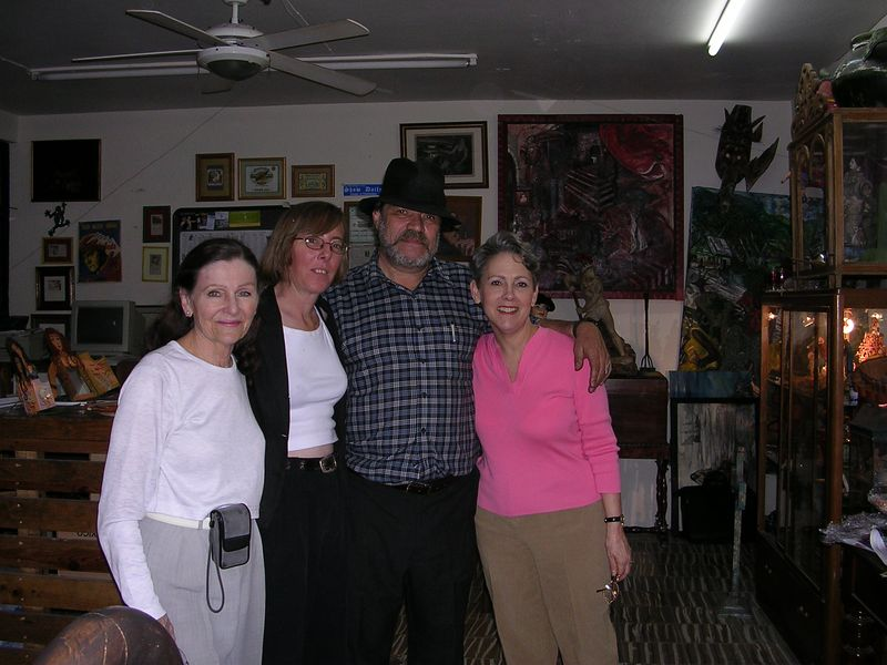 2/17/05 An evening in Guadalajara with the editors of ElantiQuario Magazine, Suzy Kirschberg & Roberto Alvarado with Lenore and Cathey on each side