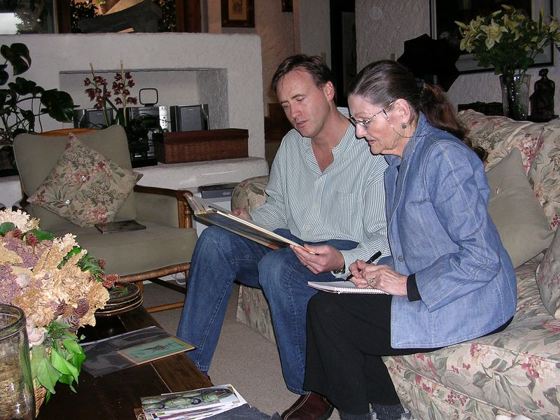 2/26/05 Lance Aaron with Lenore at his home in Mexico City.  He shared many books of interest for Lenore's research.