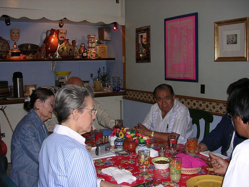 2/23/05 Luncheon at Casa Flores in Tlaquepaque: Professor Chema, Aurea Solis, Angel Santos, Cathey and Lenore, Jorge Wilmot blocked
