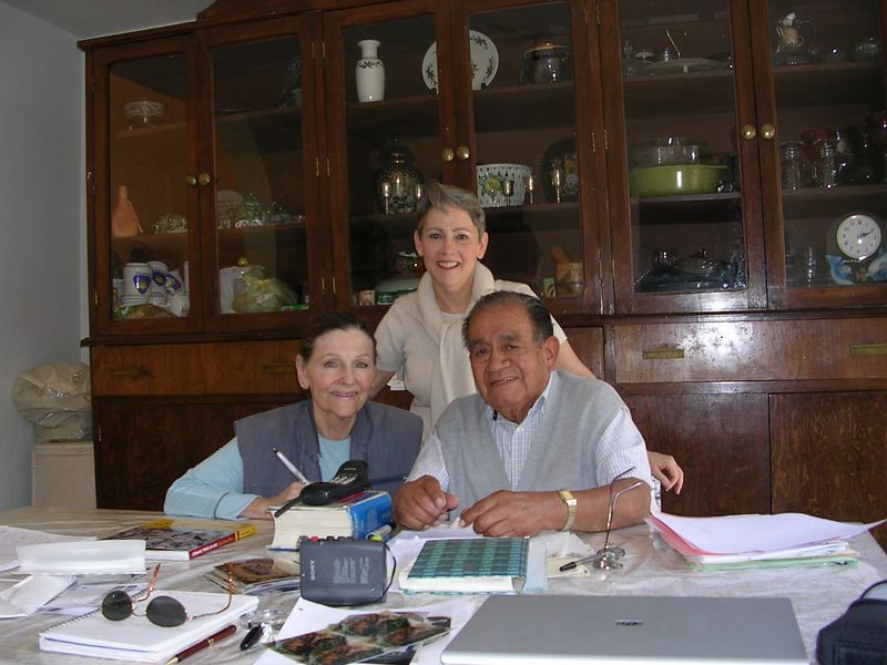 2/15/05 Cathey, Lenore and Professor Chema at his home in Tonala - our first of 4 interviews with him