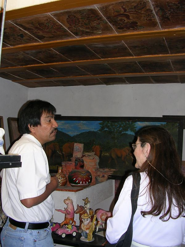 2/16/05 Upstairs at the home of Angel Santos in his collection of clay pieces from all over Mexico