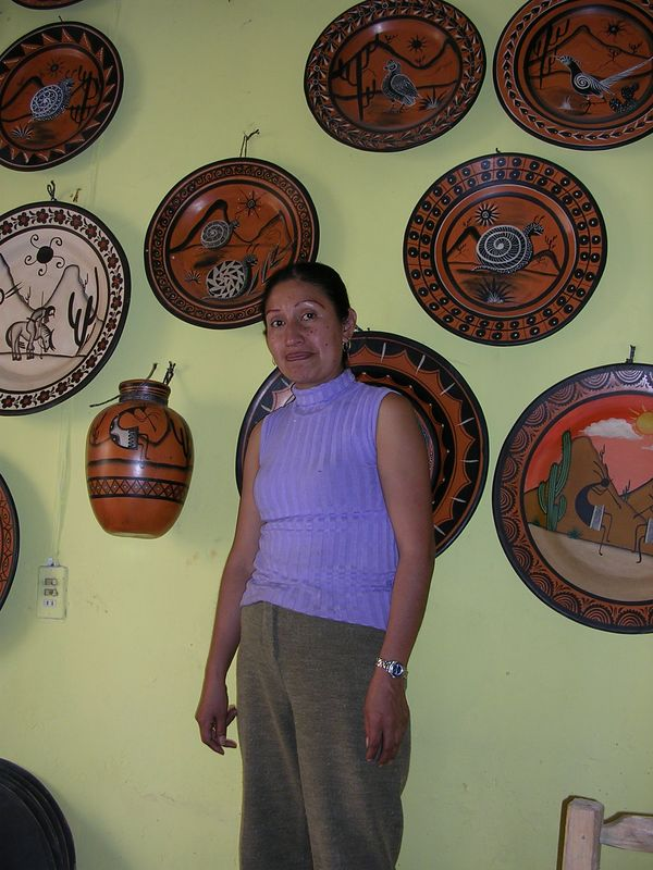 2/16/05 Rosario - a woman we met in the restaurant who wanted us to stop by her shop.  She made the pieces on the wall and sells to clients in Arizona & New Mexico