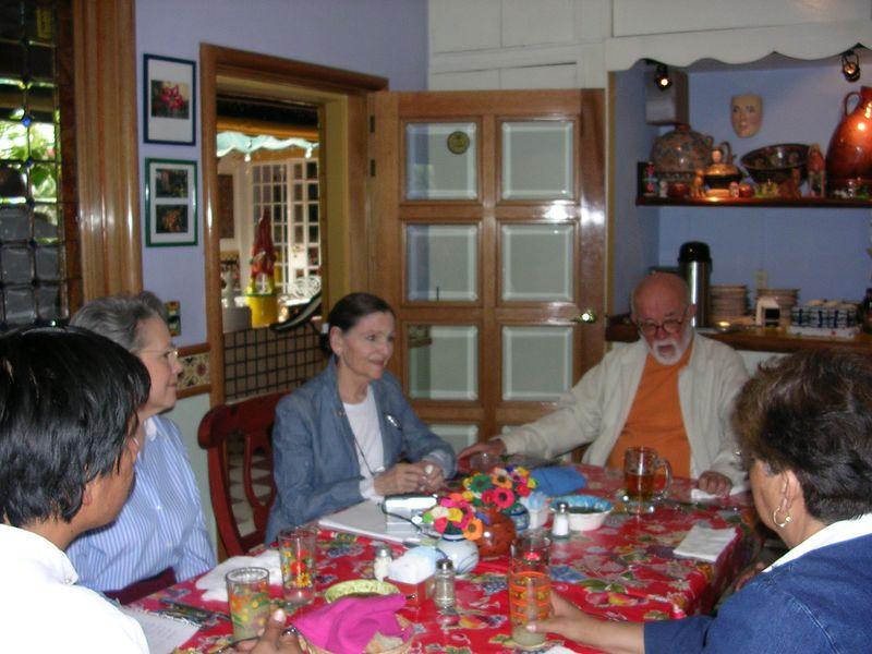 2/23/05 Luncheon at Casa Flores in Tlaquepaque: Angel Santos, Cathey, Lenore, Jorge Wilmot, Aurea Solis, Prof Chema is blocked from view