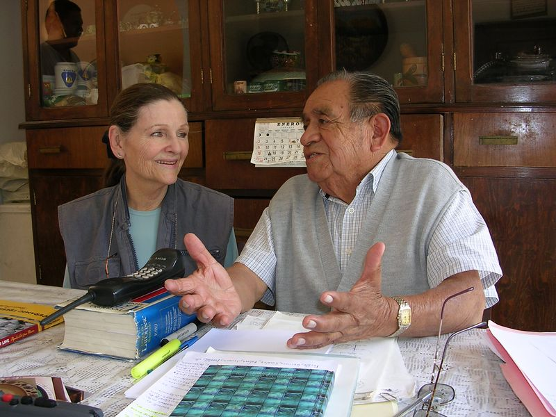 2/15/04 Lenore with Professor Chema at his home in Tonala.  The first of four two hour interviews with him.