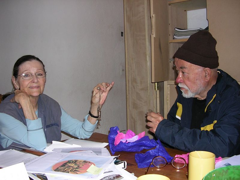 2/15/05 at Jorge Wilmot's apartment in Tonala - Lenore admires the jewelry he is now making