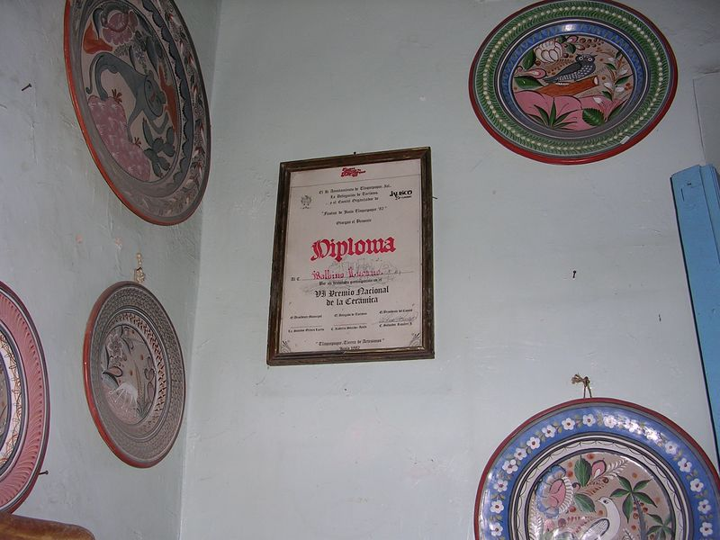 2/21/05 In the Lucano store at 131 Independencia in Tlaquepaque - a diploma for Balbino Lucano upon completion of a ceramics contest