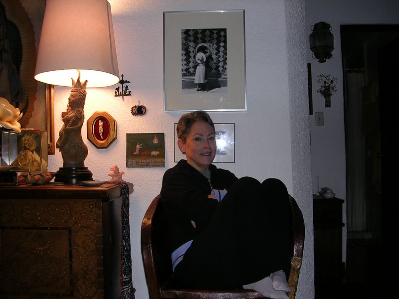 2/27/05 Cathey trying to stay warm in San Angel at the lovely home of Elizabeth Cuellar