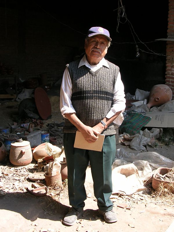5/18/05 Martin Garcia Rios (70) in what is left of the workshop across the street from the old Aldana workshop in Tonala.  Only he and one other man still work there making pottery.  His father was a potter named Angel Garcia Calderon.