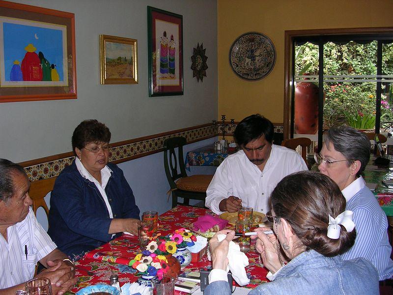 2/23/05 Luncheon at Casa Flores in Tlaquepaque: Professor Chema, Aurea Solis, Angel Santos, Cathey and Lenore