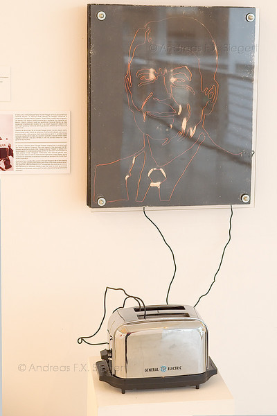 Toasted Ronald Reagan at the Czech national museum in Prague<br /> The accompanying text explains how Ronald Reagen started to learn public speeches while working on a GE gig.