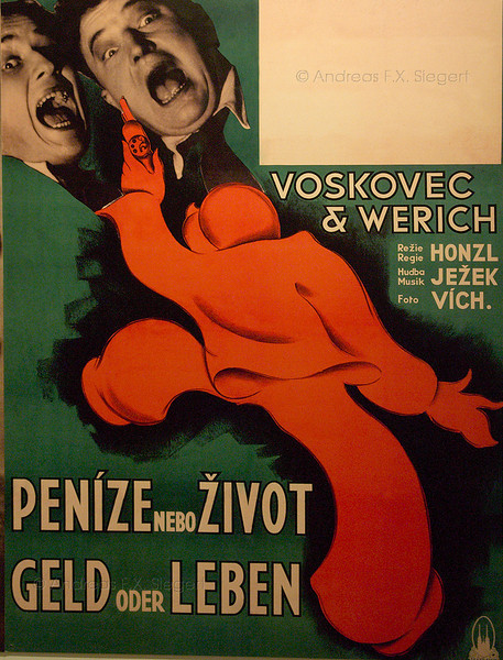 Old film poster at the Czech national museum in Prague