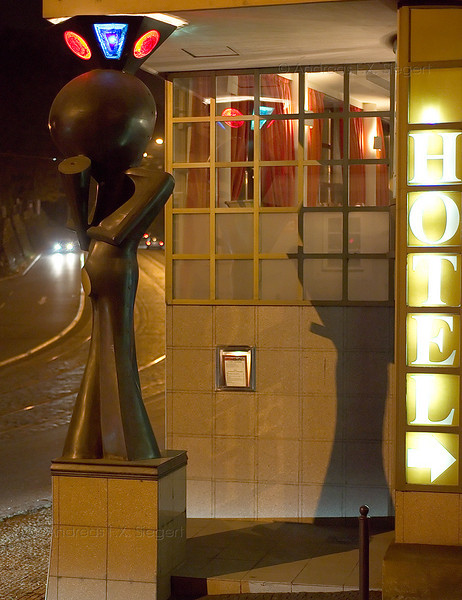 Hotel entry with statue