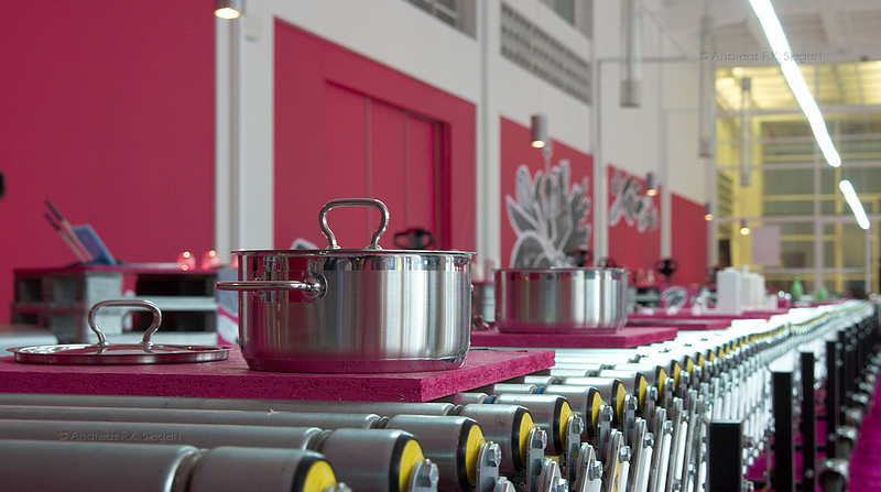 Industrially produced kitchen gear at the Czech national museum in Prague