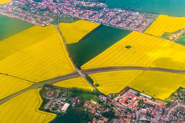Yellow fields of oil rape just before landing in Prague