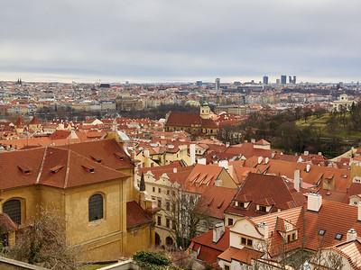 Mala Strana rooftops. Prague spring 2017