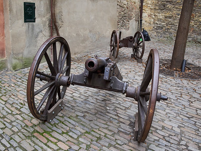 Cannons. Golden lane. Prague Castle. Prague spring 2017