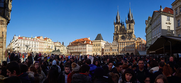 Old Town Square crowd. Prague spring 2017