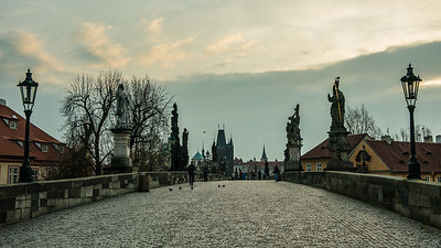 Prague Charles Bridge at dawn