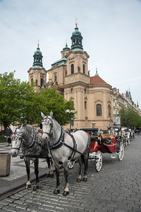 Horse carriage rides at Old Town Square Prague, Czech Republic. Old Town Square is a historic square in the Old Town quarter of Prague, the capital of the Czech Republic. It is located between Wenceslas Square and the Charles Bridge.