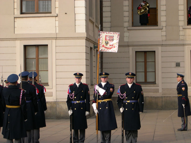 Changing of the Presidential Guard at Prague Castle at noon the next day.