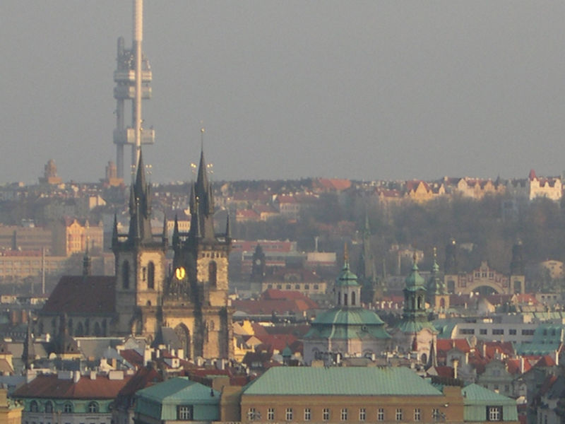 View from Prague Castle across the river to the city.  Tyn Church at the Old Town Square is especially prominent.