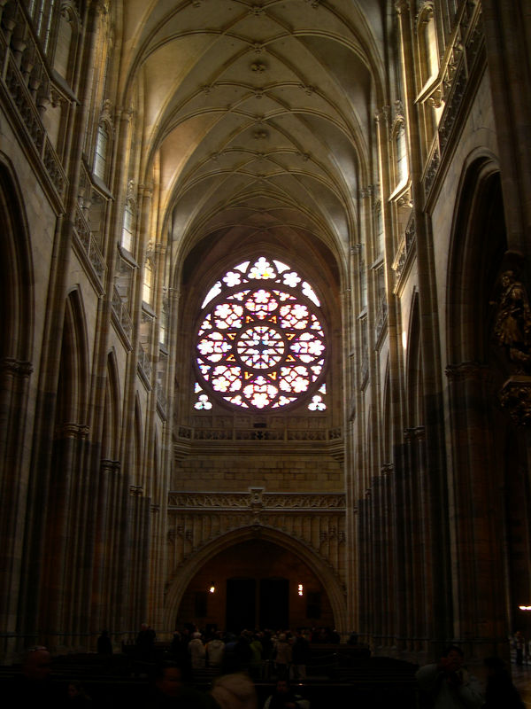 Looking toward the entrance to St. Vitus' Cathedral, with the rose window, a relatively recent addition.