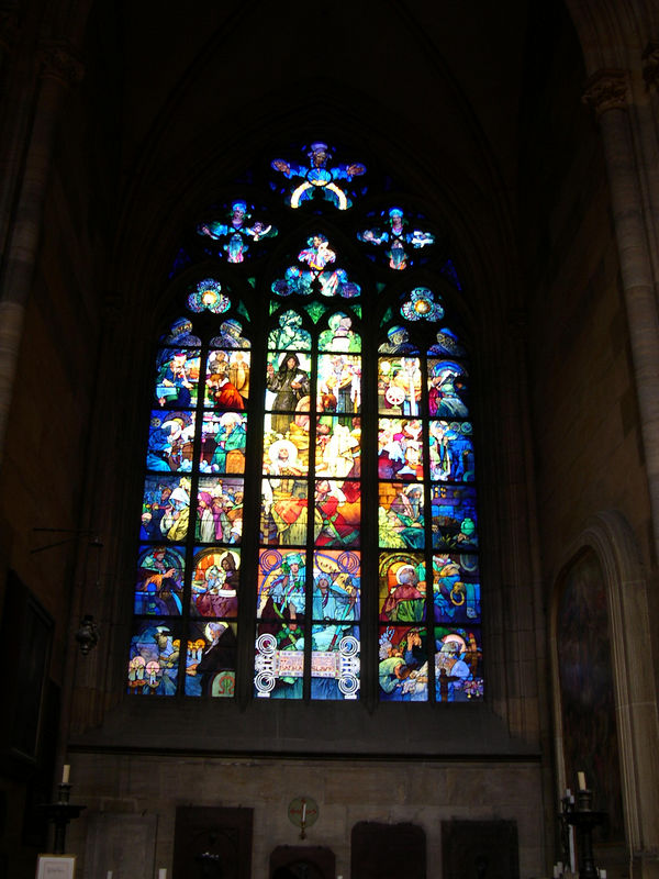 One of the windows in Saint Vitus' Cathedral, painted in Art Nouveau stype in the 1930's.