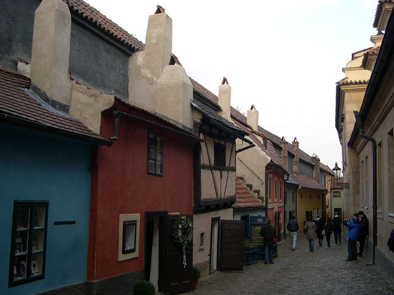 The houses of Golden Lane in Prague Castle.  Originally the homes of alchemists, they now hold small shops.