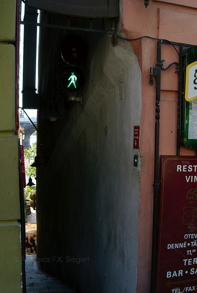 Alley with traffic light