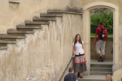 Krishana (my sister) in a castle outside of Prague