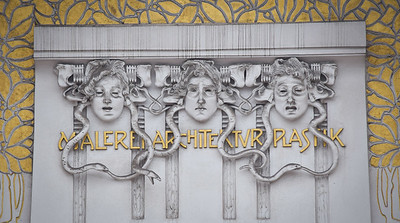 Vienna: The Secession Building, front facade detail