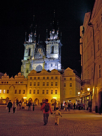 Tourists enjoy the Center of Old Town Prague and the tyn church at night - Prague - Czec Republic