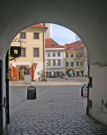 View through one of the arches in Old Town, Prague, Czec Republic