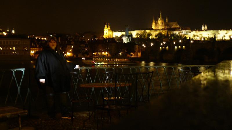 Wife at Charles Bridge - Prague At Night - Day1