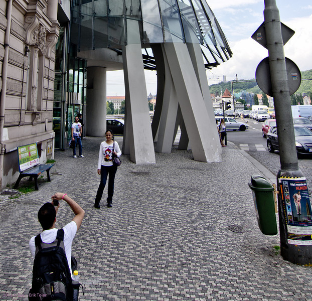 """Picture me in front of the attraction - 14<br /> Building """"Ginger and Fred"""" by Frank Gehry, Prague"""